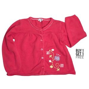 Le Top Girls Cardigan Coral Embroidered Flowers 6